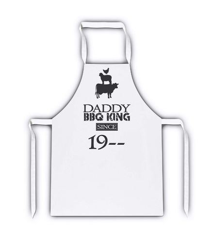 Personalised Daddy BBQ King Since 19- White Apron
